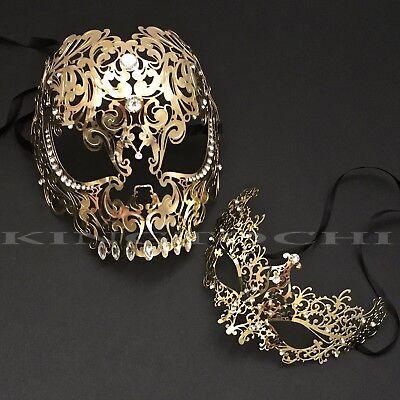 Halloween Couple Full Face Metal Evil Skull & Venetian Masquerade Eye Masks - Venetian Full Face Mask