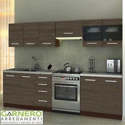 Cucina moderna completa 260 cm MARIKA rovere scuro standard con pensili design