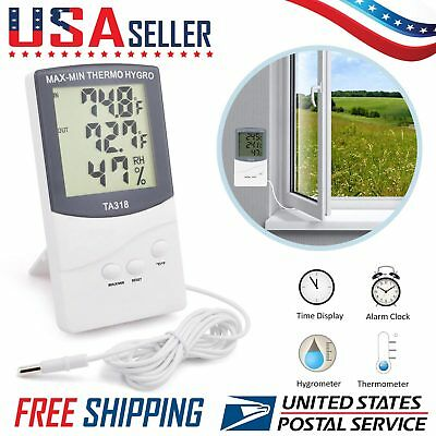 LCD Indoor Outdoor Thermometer Digital Hygrometer Temperature Humidity Display