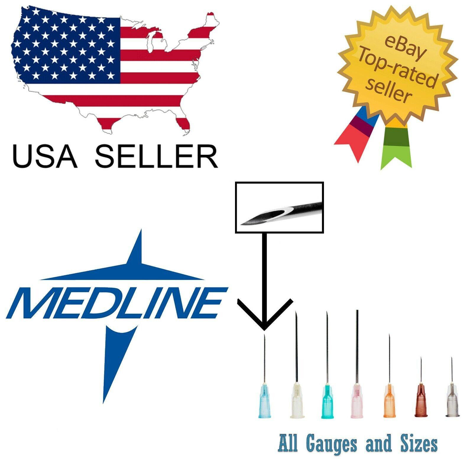 Medline Needles Box 50 or 100 All Size Gauges - Blunt Luer L