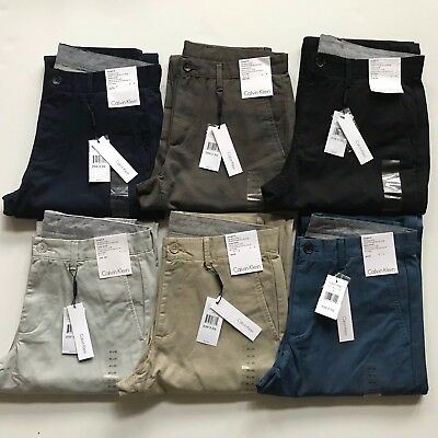NWT Calvin Klein Men's Straight Fit Chino Pants All Sizes 5 pocket 100% Cotton