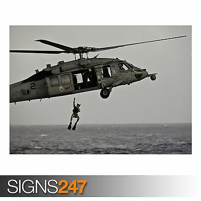 AN MH-60S SEA HAWK HELICOPTER (AC095) ARMY POSTER - Poster Print Art A0 A1 A2 A3