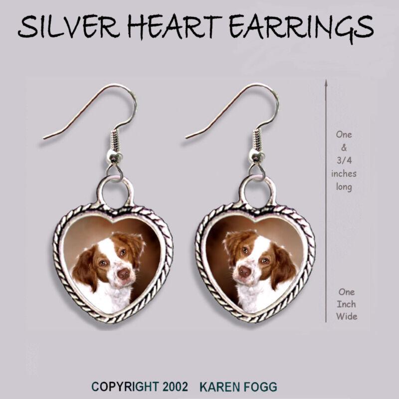 BRITTANY SPANIEL DOG -  HEART EARRINGS Ornate Tibetan Silver