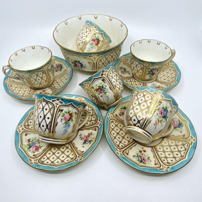 Antique 11 pc Part Tea Set HAND-PAINTED flowers, turquoise + gold gilding