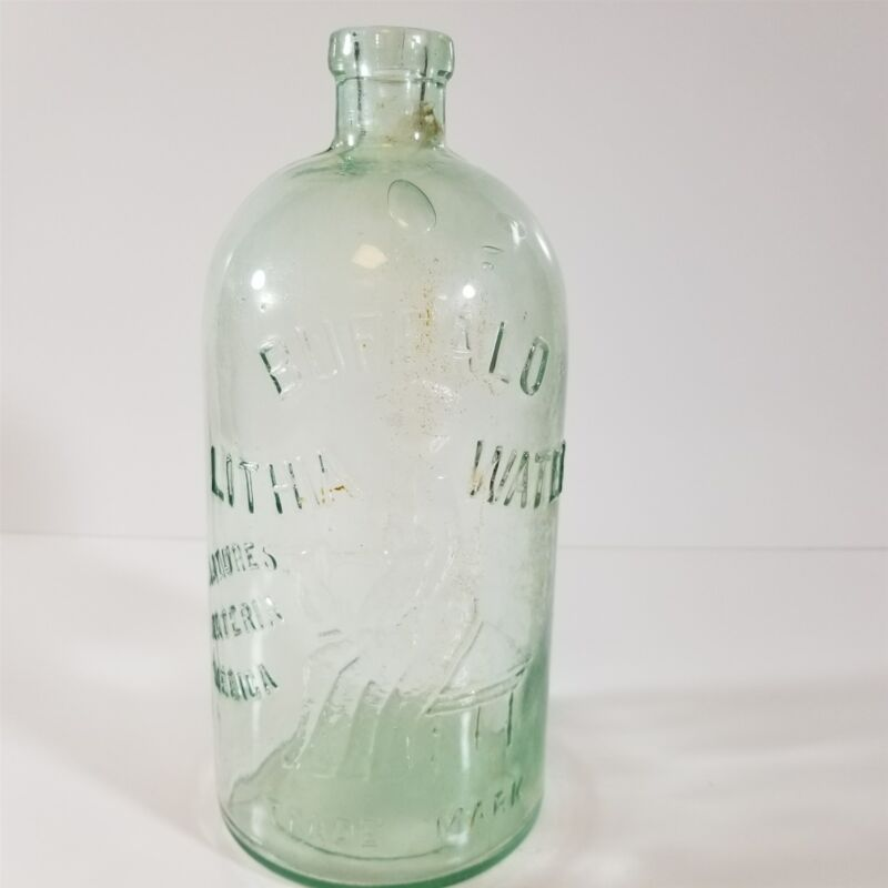 Very Old Buffalo Lithia Water Bottle Green