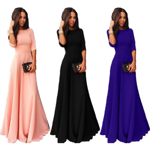 Womens Long Chiffon 3/4 Sleeve Cocktail Formal Party Prom Ba