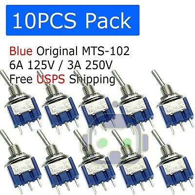 10 Pcs Mini 3-pin Spdt On-on Toggle Switches 6a 125vac 3a 250vac Mts-102