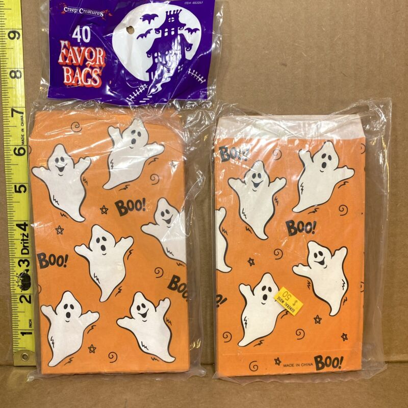 Vintage '97 The Paper Magic Group Halloween Treat Favor Bags Sacks Ghosts 54ct