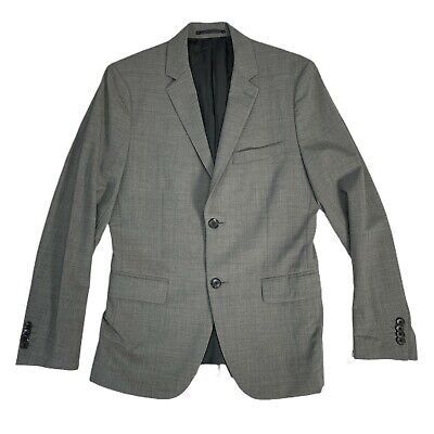 THEORY Mens Solid Gray Wool Blend Slim Fit Suit Jacket Sport Coat 36S Blend Mens Sport Coat