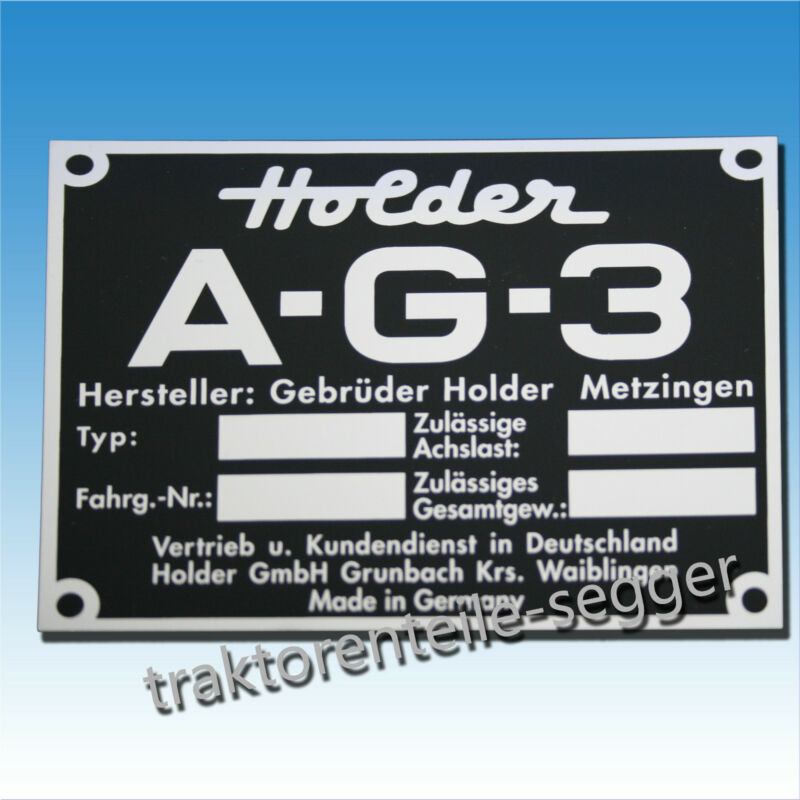 Holder Typenschild AG 3 Traktor Schlepper Trecker Foto 1