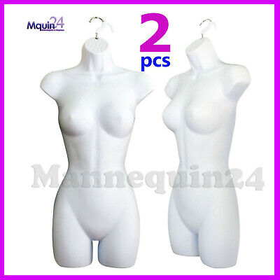 2 Pack Female Torso Mannequins 2 Hangers Women Hanging Dress Forms