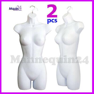 2 Pack Female Torso Mannequins 2 Hangers Women Hanging Dress Forms