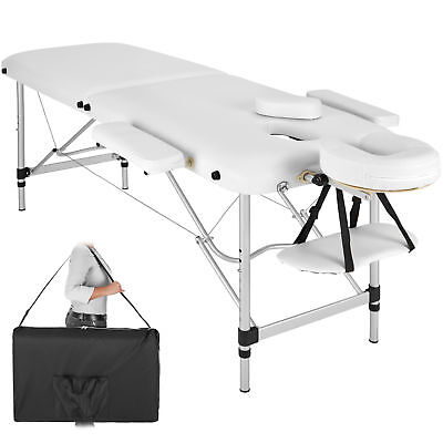 Mobile Alu Massageliege Massagetisch Massagebank klappbar 2 Zonen weiß +