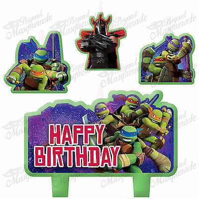 (4ct) Ninja Turtles Birthday Boys Party Decorations Cake Topper Candles Set  - Ninja Turtle Cake Decorations