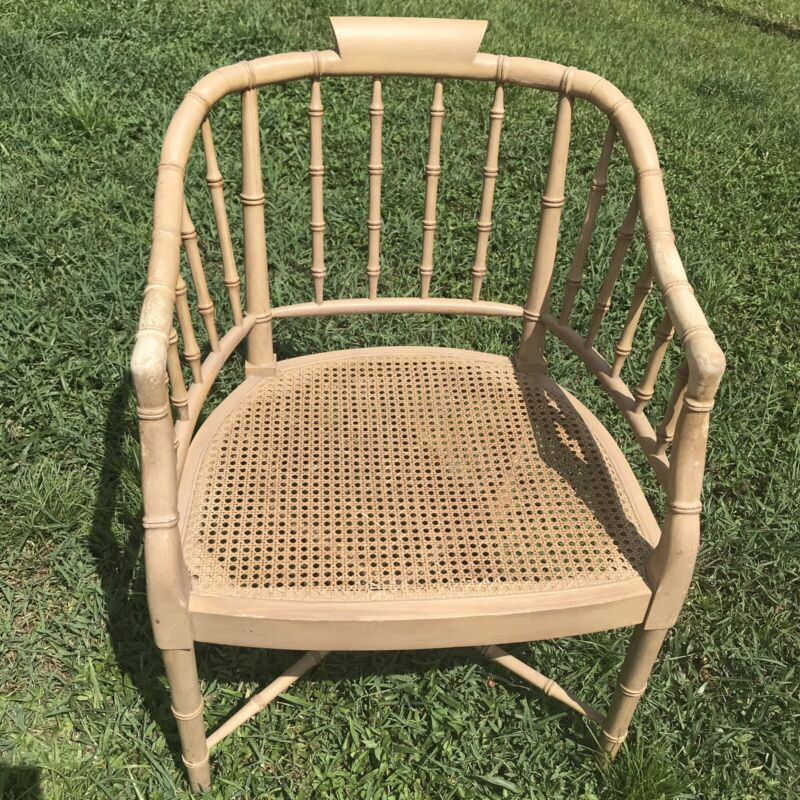 Chinese Chippendale Blond Faux Bamboo Cane Regency Arm Chair Chinoiserie Chic