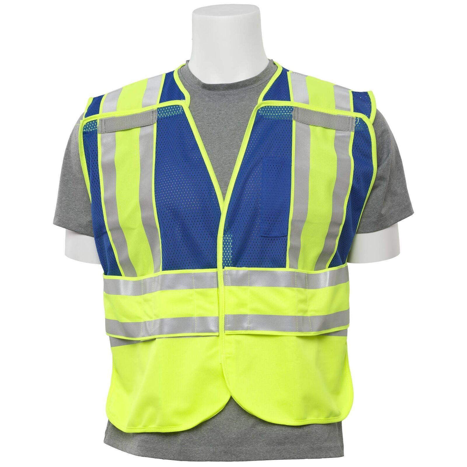 Blue PIP ANSI 207 Reflective Public Safety Vest with Pockets