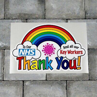 Rainbow Window / Wall Sticker Thank You NHS Charity Car Shop Home Decal - B