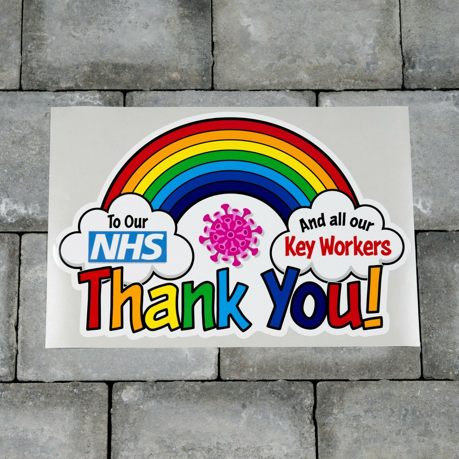 Home Decoration - Rainbow Window / Wall Sticker Thank You NHS And Key Workers Charity Decal - B