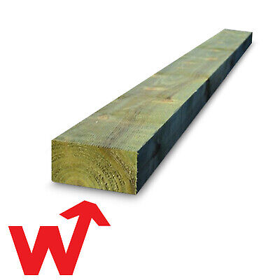 PACK OF 5 200x100x2.4m Railway Sleepers Green Treated Timber Raised Beds NEW