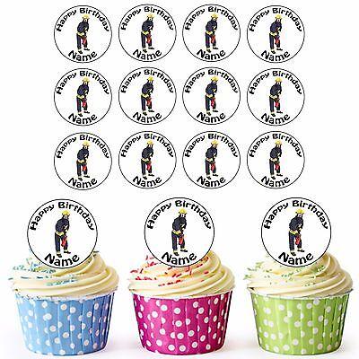Feuerwehrmann 24 Personalisiert Vorgeschnitten Essbar Geburtstag Cupcake Topper
