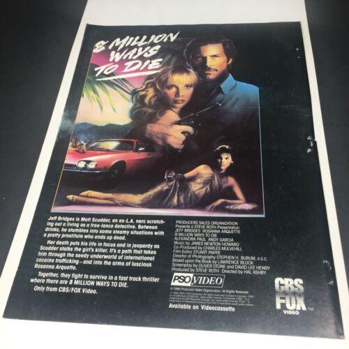 Vintage 1986 Print AD Video 8 MILLION WAYS TO DIE Jeff Bridges Rosanna Arquette