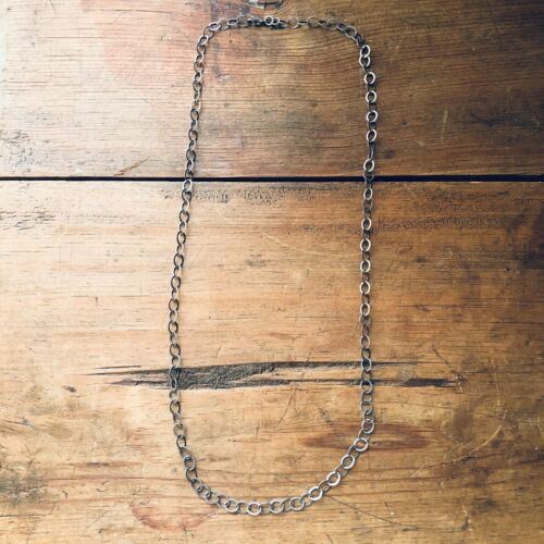 Antique Style Vintage Sterling Silver Linked Long Chain 26 Mexico Taxco Mexican