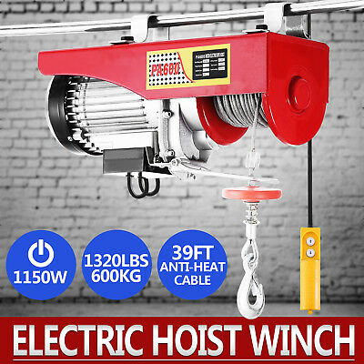 Lift Electric Hoist 1320lbs 110v Overhead Crane Lift Electric Wire Hoist Remote