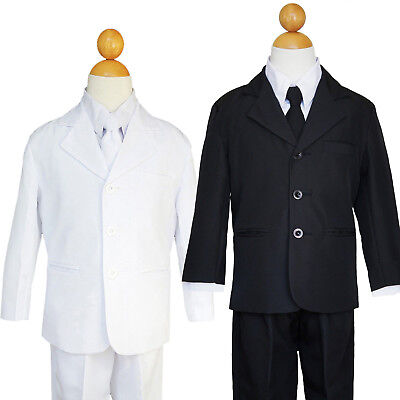 BOYS RING BEARER, RECITAL, PARTY BLACK SUIT SET, SIZE: 2T to 7