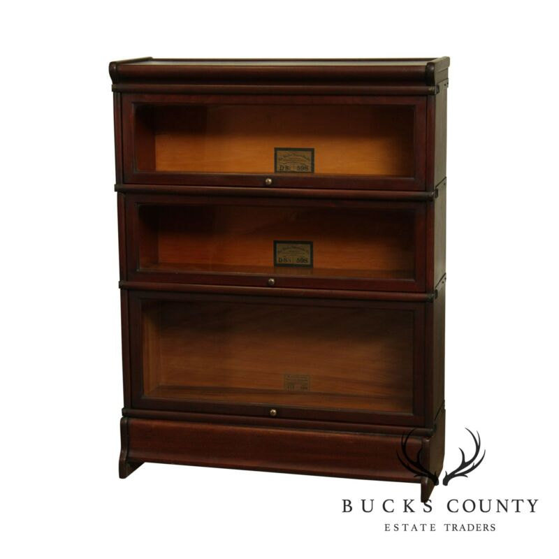 Globe Wernicke Antique Mahogany 3 Stack Barrister Bookcase