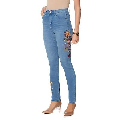 DG2 Diane Gilman Stretch Embroidered Skinny Jean CHAMBRAY MULTI 8 NEW 560-497