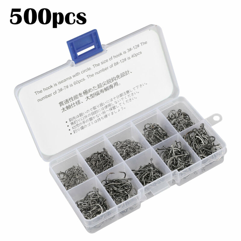 500Pcs Black Fish Jig Hooks With Hole Fishing Tackle Box 10 Sizes Carbon Steel