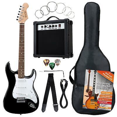 Pack de Guitarra Electrica Strat 3 Single Coil Amplificador Bolsa Correa Negro