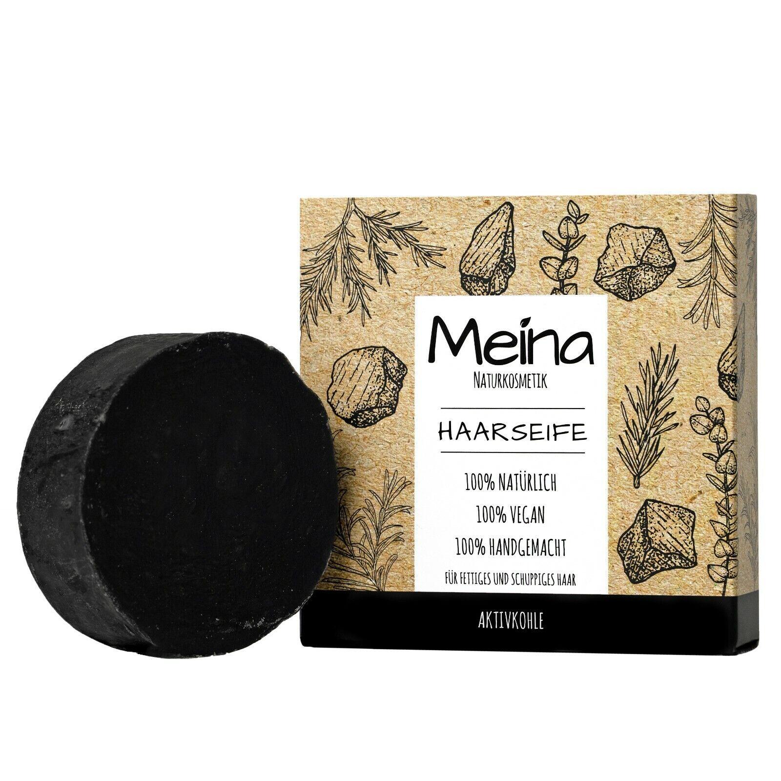 Meina Naturkosmetik - Haarseife mit Aktivkohle, Shampoo Bar gegen Schuppen, 80g