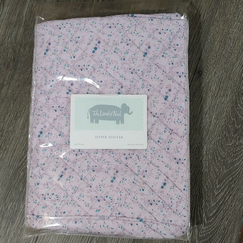 NWT Land of Nod Purple Floral Quilted Cotton DIAPER STACKER
