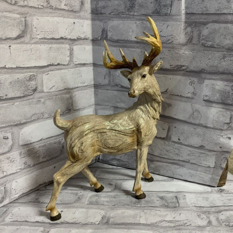 Winter Deer Figurine Tii Collections Standing Faux Wood Glitter