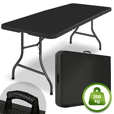 tillvex® Klapptisch Gartentisch Rattan Buffettisch Campingtisch klappbar 180cm