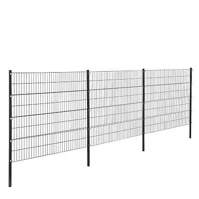 [pro.tec]® Gartenzaun 6x1,6m Grau Doppelstab Zaun Set Gittermatten Metallzaun