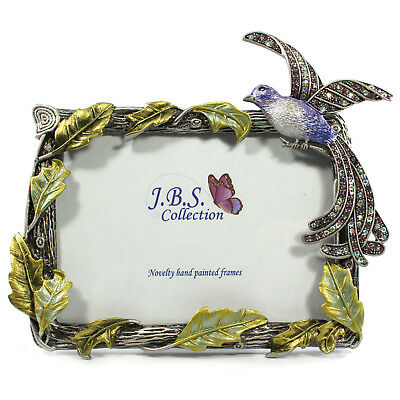 Bejeweled bird of paradise photo frame, enamel painted with crystals in - Bird Photo Frame