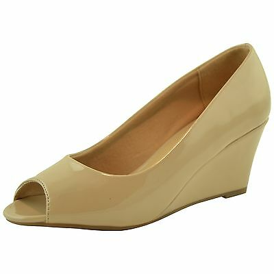 Womens Peep Toe Patent Leather Wedge Pumps Beige Size 6-10 Beige Patent Leather Pumps