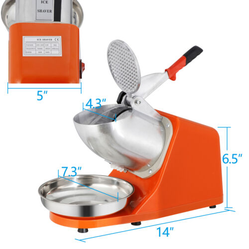 4XElectric Ice Crusher Shaver Machine Snow Cone Maker Shaved Ice 143 lbs Silver Business & Industrial