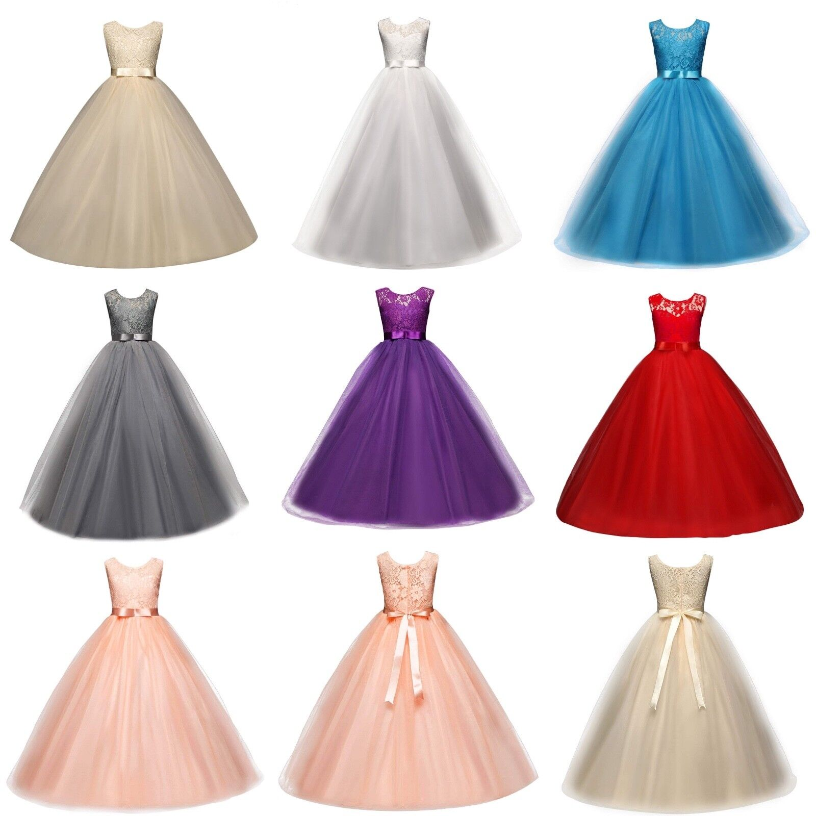 Girls Ball Gown Wedding Princess Bridesmaid Party Prom Birthday Dresses for Kids