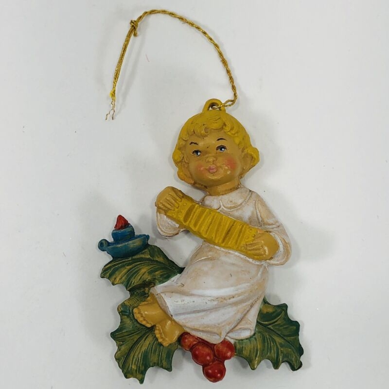 Vintage Christmas Ornament Girl Playing Concertina 3.25in Made in Italy Ceramic