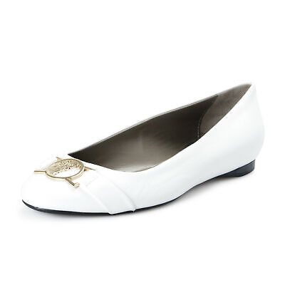 Versace Collection Women's White Leather Ballets Flat Shoes Sz 7 8 9