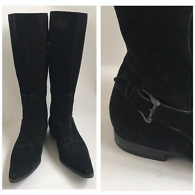 Vintage Gucci Tom Ford Unworn Tall Suede Pointy Toe Black Suede Boots Size 8