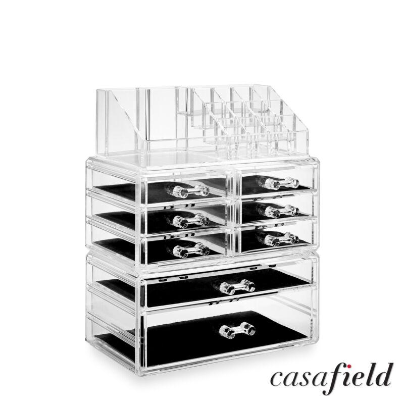 3pc Acrylic Cosmetic Makeup Organizer & Jewelry Drawer Storage Box Display Case