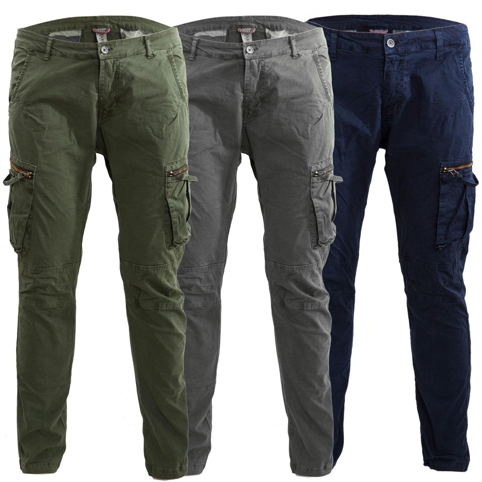 717c0be4c Détails sur Pantalons homme cargo militaire légers poches latéraux casual  coton M-09