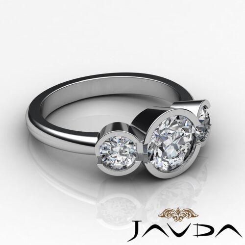 Platinum 1.6ct 3 Three Stone Round Shape Javda Diamond Engagement GIA F SI1 Ring