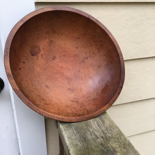 Vintage Wooden Dough Bowl Primitive Out Of Round 13""