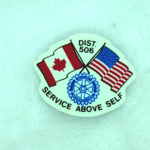 Rotary International Dist 506 USA Canada Service Above Self Plastic Lapel Pin