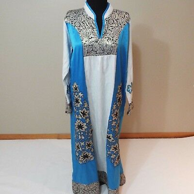 Women long blue silver white embroidered dress kuftan caftan abaya gown size P M